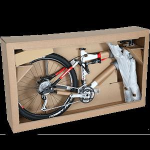 sicher und stoßfest verpacktes Fahrrad
