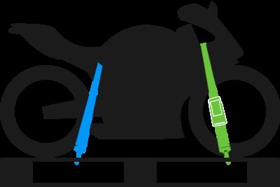 Korrekt gesichertes Motorrad: Seitenansicht